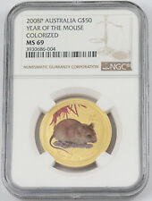 AUSTRALIA 50 DOLLARS GOLD NGC MS 69 LUNAR YEAR OF MOUSE COLOR 2008
