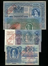 AUSTRIA SET 4 BANKNOTES 20, 50, 100, 1000 KRONEN BANK STAMP 4 OKT. 1920 UNC RARE