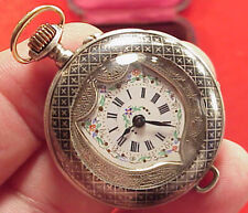 Vintage 35mm SILVER NIELLO LADIES SHIELD DESIGN PENDANT WATCH BOXED RUNNING