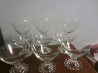 9 VINTAGE ANCHOR HOCKING BOOPIE SHERBERT FRUIT GLASSES CLEAR PATTERN