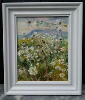 Moon Daisies & Pink Clouds WensleydaleORIGINAL.SIGNED.Yorks. Dales.Canvas.Framed