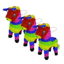 Handmade Mexican Fiesta Mini Bull Pinata Piñata 3pc LOT