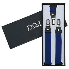 DQT Polyester Plain Solid Royal Blue Formal Adjustable Clip-On Page Boys Braces