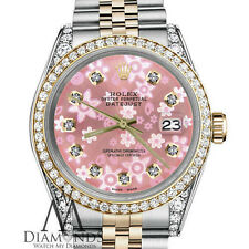 Ladies Pink Flower Rolex Steel 18K Gold 36mm Datejust MOP Diamond Jubilee Watch