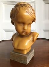 French Wax Bust Of A Young Boy, On A Fruit Wood Base, 19th / Early 20th Century.