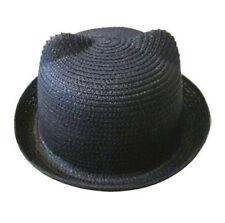 Lady Women's Straw Hat Cat Ears Devil Horns Bowler Derby Cap Summer Beach Sunhat