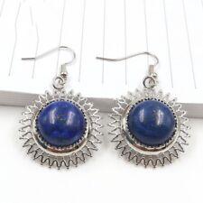 28mm Round Natural lapis Lazuli Sunflower Gemstone Silver Dangle Hook Earrings