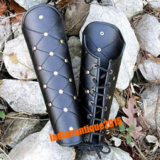 New Black Leather Greek Armor Collectible Leg Guard Halloween Gifts