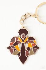 African American Art Brass Metal Key Chain - Angel