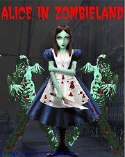 Alice in Wonderland Art Print 8 x 10 - Zombie Parody - Goth - Horror - Gothic