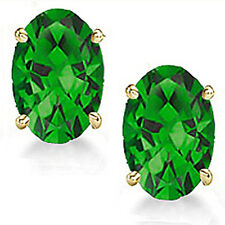 @@ Wholesale Genuine Emerald Oval Earrings in 14k Gold With Certificate