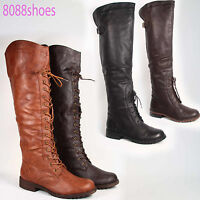 Fashion Round Toe Low Heel Lace Up Knee Thigh High Boot Shoes Black Brown Tan