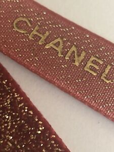 CHANEL PARIS ribbon red glitter 16mm AUTHENTIC craft bows diy? embossed designer