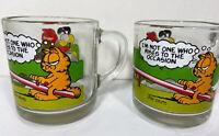 Pair of Rare McDonald's Garfield Glass Coffee Mug Vintage 1980 Jim Davis