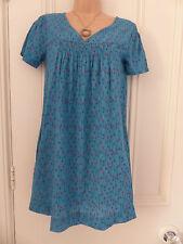 Magnifique Taille 8 turquoise long en coton haut tunique de Mistral outils de jardinage motif