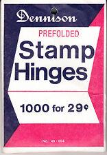 1 Unopened Pack Of The 2Nd Best Stamp Hinges, Dennison Folded Hinges 1000