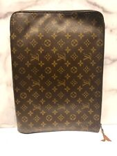 Vintage Louis Vuitton LV Brown Monogram Zip Around Poche Documents Portfolio