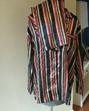 Vintage Jc Penny Delicates Satin Striped Pajamas Excellent Size S Bold Colors
