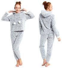 Ladies Pyjamas Leopard Animal Print Fleece Twosie Hooded Pajamas Womens Grey PJs