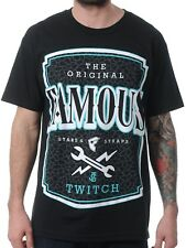 FAMOUS Twitch Local Label Mens Tee - Black Stars And Straps Street Skate Moto...