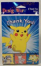 VINTAGE PIKACHU POKEMON BIRTHDAY PARTY THANK YOU NOTES MEOWTH MEWTWO 8ct MISP