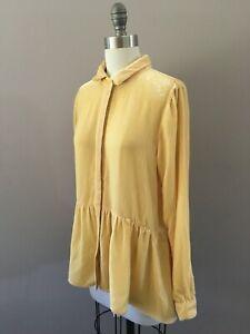 SUNDANCE CATALOG Tunic Top Blouse Silk Velvet Gathered Peplum Button Up BOHO M