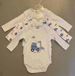rock a bye baby boy blue giraffe zoo friend long sleeve bodysuits vests 3 pack