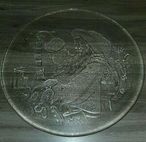 "Vintage Clear Glass Saint Nickolas NOEL Christmas Plate Serving Platter 13"""