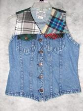 Vintage Jordache Denim Jean Vest With A Flannel Trim ~ Very Nice Designer Vest