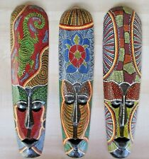 Tiki Mask Tribal Aboriginal Set 3 Art Decor dot Wood Bali Colorful wall hanging