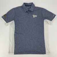 Nike Golf Mens Performance Polo Shirt Indy Speedway Miller Lite Size Large Blue