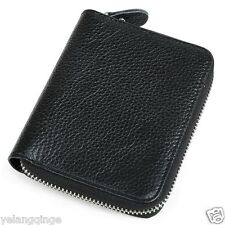 Genuine Leather Mens women Wallet purpse coin ID Cards money holder zipper