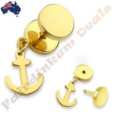 316L Surgical Steel Gold Ion Plated Fake Ear Plug With Anchor Dangle