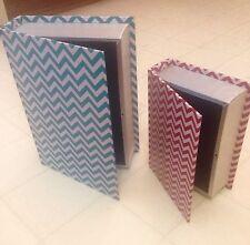 Red Blue Chevron Stripe Wood Vinyl Home Decor Book Trinket Storage Container Box