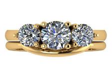 2.00 ct G VS2 round diamond 3 stone engagement wedding ring set 18k yellow gold
