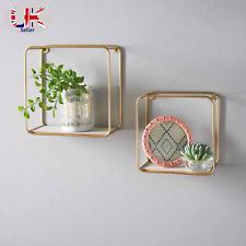 Set of 2 Wall Shelves Floating Gold Wire Frames Elegant Design Fully Assembled