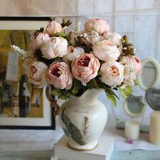 1 Bouquet Fleurs Artificielles Type Européennes Décoration Chambre Rose Léger