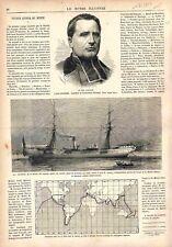 L'Abbé Roussel Fondateur de l'Orphelinat d'Auteuil La Junon Bateau GRAVURE 1878