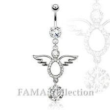 Navel Belly Ring 316L Surgical Steel Fama Angel Multi Paved with Dangling Cz