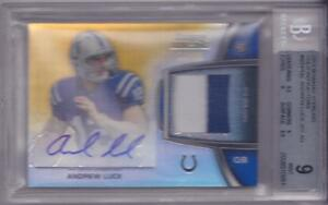 ANDREW LUCK RC 2012 BOWMAN STERLING GOLD REFRACTOR AUTO PATCH #10/66 BGS 9 10 AU