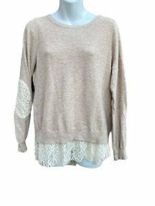 Anthropologie Angel Of The North Femmes Bouton Arrière Pull Beige Chiné Lacets L