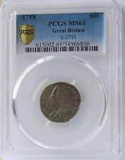1758 Great Britain 6 Pence MS61 PCGS. S-3711.  Attractive Toning.