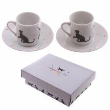 I Love My Cat Design Espresso Cup & Saucer Set of 2