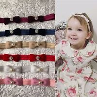 Vintage Velvet Bow With Pearl Baby Girl Headband Newborn Variety Headbands+ Lot