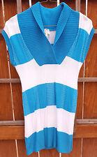 MOA Dress Blue/White Striped-Sweater Stretch-sz L-Sexy-Made in USA