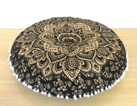 "28"" Black Golden Mandala Round Floor Pillow Cushion Cover Room Decorative Throw"