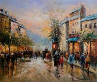 Stretched Original Oil On Canvas, Jean Paul Signed, Paris Autumn Scene Landscape