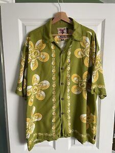 Mambo Loud Shirt Shirts Ring Pull Beer Can Mens Hawaiian Shirt Rare Medium Green