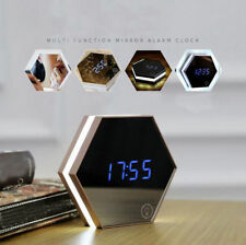Electronic Smart Digital Mirror Glass LED Wall Alarm Clock w/Makeup Night Light