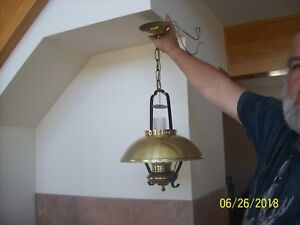 Swinging Mid Century Modern Brass Metal Hanging Ceiling Lght Fixture Chandelier